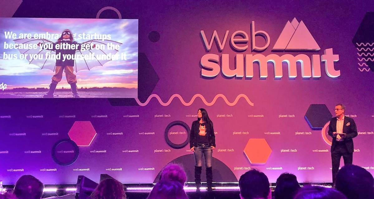 DefinedCrowd Founder/CEO Daniela Braga and EDP CEO António Mexia preach innovation at last week's WebSummit